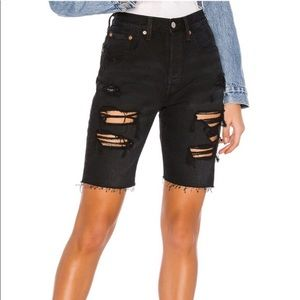 NWT Levi's 501 Slouch Shorts Distressed Black 27